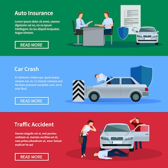 Auto insurance horizontal banner set with negotiations damage from car crashes and traffic accidents isolated vector illustration