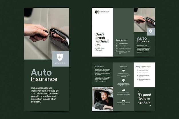 Vettore del modello di assicurazione auto con set di testo modificabile