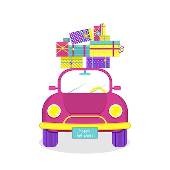 Auto is carrying on roof new year's gifts. vector illustration.
