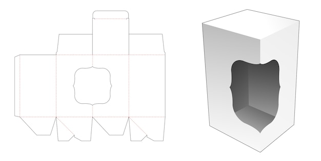 Auto lock bottom box with window die cut template