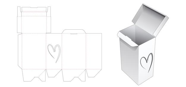 Автоматический ящик с вырезанным шаблоном окна в форме сердца
