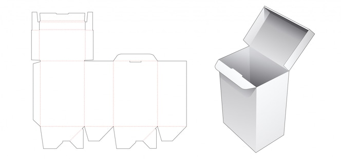 자동 잠금 선물 상자 다이 컷 템플릿