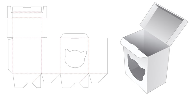 고양이 모양의 창 다이 컷 템플릿이있는 자동 잠금 직사각형 상자