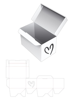 심장 모양의 창 다이 컷 템플릿이있는 자동 잠금 직사각형 상자