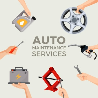 Автосервис с текстом в центре изображений. иллюстрация в плоском дизайне рук, держащих инструменты и колесо для автомобиля. процесс ремонта транспорта на сто