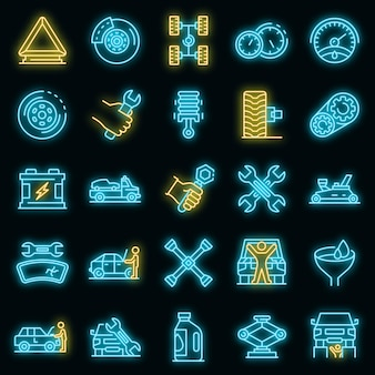 자동차 정비사 아이콘을 설정합니다. 블랙에 자동 정비사 벡터 아이콘 네온 색상의 개요 세트