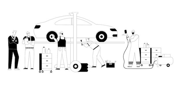 Auto mechanic team inspect vehicle, repairs wheel, airbrush painting at garage.