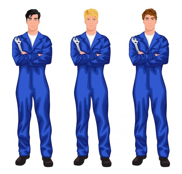 Auto mechanic worker character set