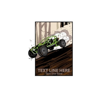 Auto mobile on the track illustration concept