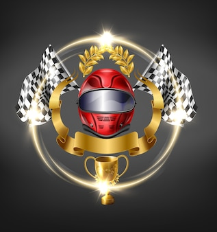 Auto, motorsport racing victory icon.
