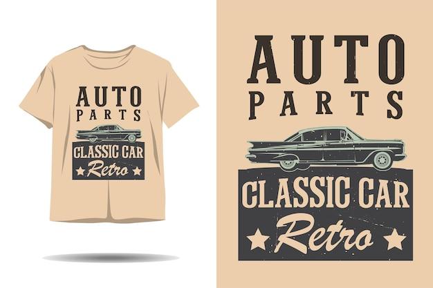 Автозапчасти классический автомобиль ретро силуэт дизайн футболки