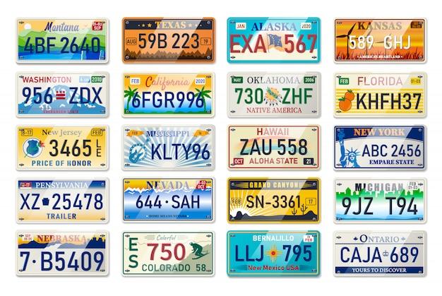 アメリカの自動車登録の自動車プレートと自動車番号セット。車のプレート。車両免許番号