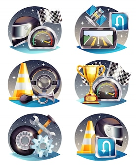 Auto racing compositions set