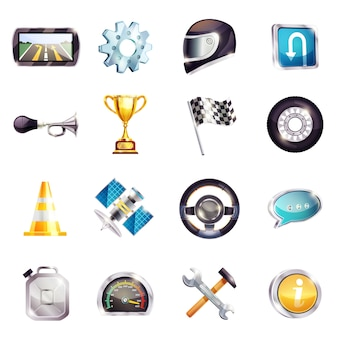Auto racing elements set