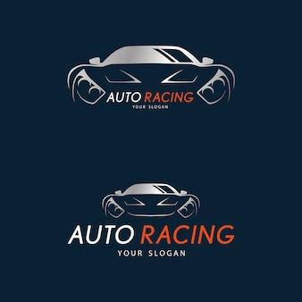 暗い青色の背景にオートレーシングシンボル。