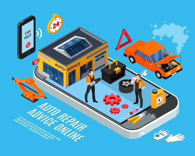 Auto repair online advice isometric concept with spare parts pieces vector illustration