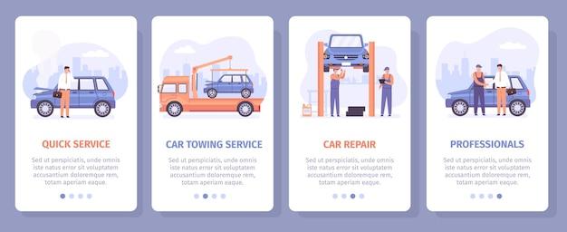 自動車修理サービス。車のけん引および機械的メンテナンスセンターのランディングページ。自動車整備士のモバイルアプリベクトルセットのスクリーンポスター