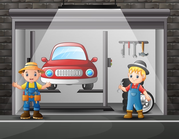 Auto repair shop service workers cartoon indoor