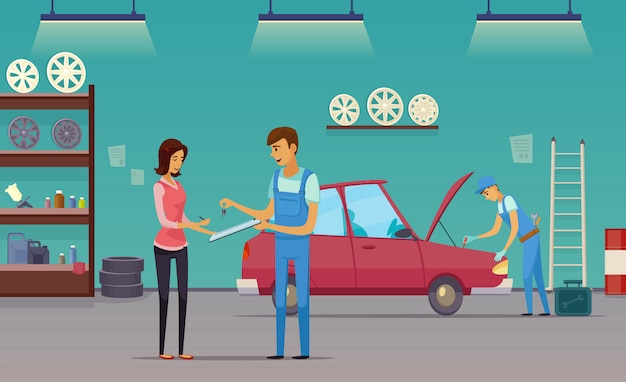 Auto repair shop service workers fixing car and billing customer retro cartoon indoor composition