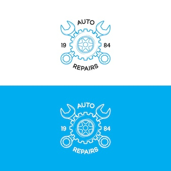 Auto repairs logo set with gear and wrench line style isolated on background for auto service shop