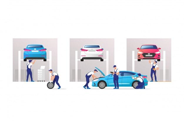 Автосервис и ремонт. автомобили в мастерской технического обслуживания с бригадой механиков.