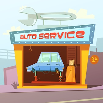 Auto service building cartoon background