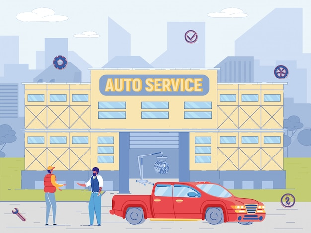 Auto service building. mechanic repairman give key to repaired car owner.