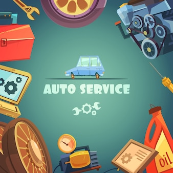 Auto service cartoon background