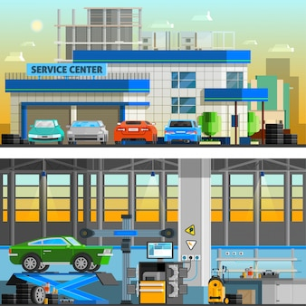Auto service flat horizontal banners