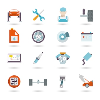 Auto service icons flat