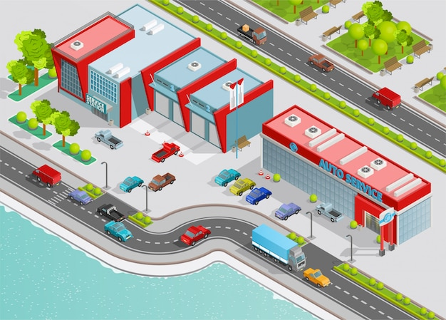 Auto service isometric composition