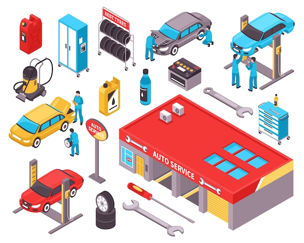 Auto service isometric icons set