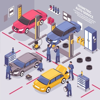 Auto service isometric illustration