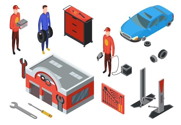Auto service in isometric view
