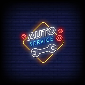 Auto service neon signs style text