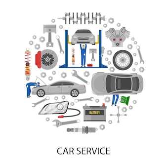 Auto service round design with cars mechanics work tools machine details