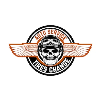 Auto service. tires change. emblem with racer skull and wings.   element for logo, label, emblem, sign, badge.  illustration