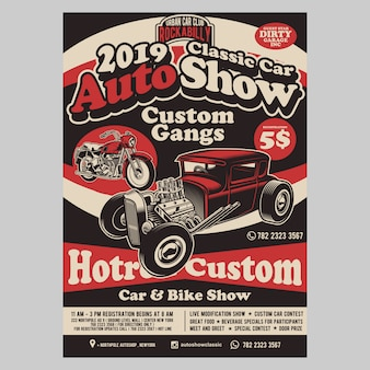 Auto show hotrod flyer template