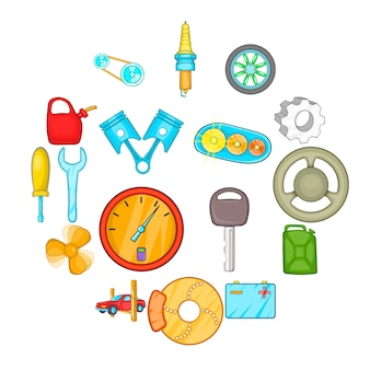 Auto spare parts icons set, cartoon style