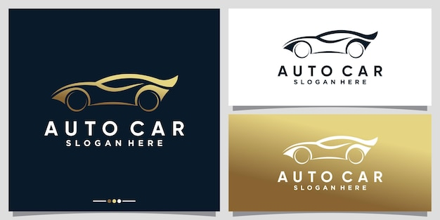 Auto sport car logo design with golden gradient style color premium vector
