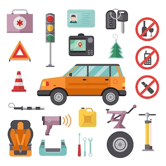 Auto transport service and car tools icons high detailed  set.