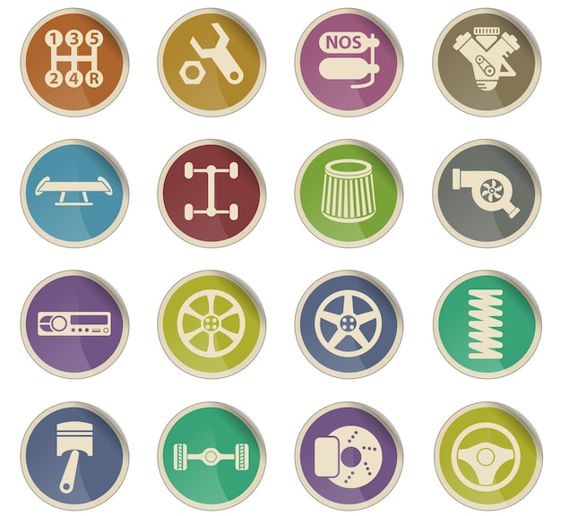 Auto tuning vector icons in the form of round paper labels