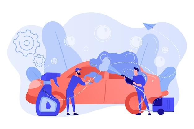 Автомойки очищают экстерьер автомобиля специальной техникой. автомойка, автоматическая мойка, концепция автомойки самообслуживания