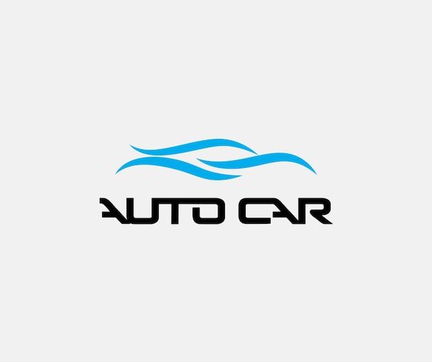 移動フラット漫画の白い背景のダイナミックな青い車のシルエットに自動波線分離アイコン