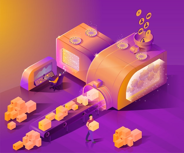 Automate customer service isometric vector concept