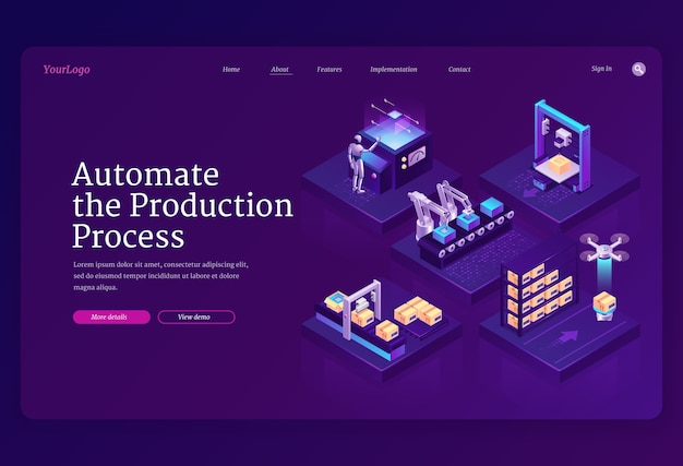 Automate production process banner. innovation technologies in manufacturing, automation work on industrial assembly line. landing page with isometric conveyor belt, robot, drone and boxes