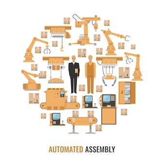 Automated assembly colored round composition with isolated yellow icon set and title automated assembly vector illustration