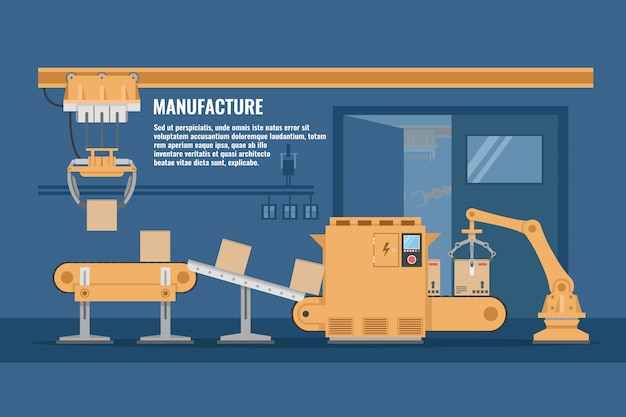 Automated assembly line design with conveyor system of yellow color in blue workshop vector illustration