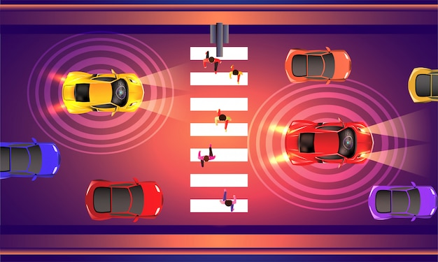 Automated cars with sensor technology.