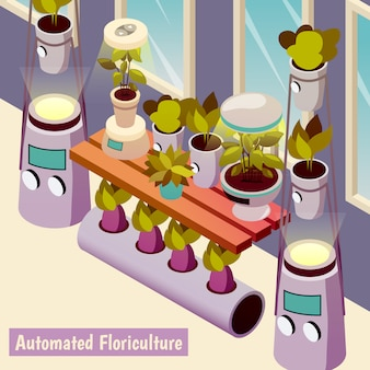 Automated floriculture isometric illustration